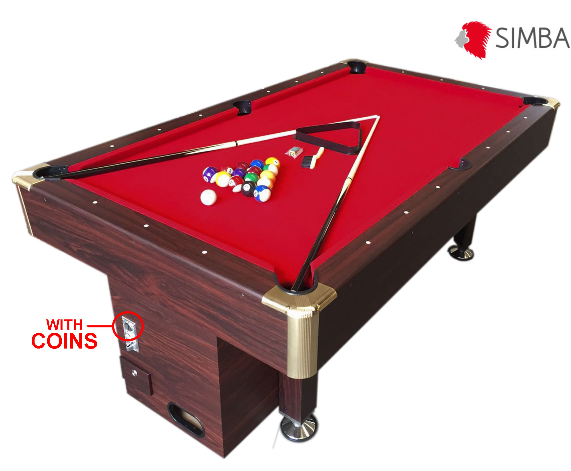 Ft Pool Table Billiard With Coin Machine For Public Places Red - 7 ft billiard table