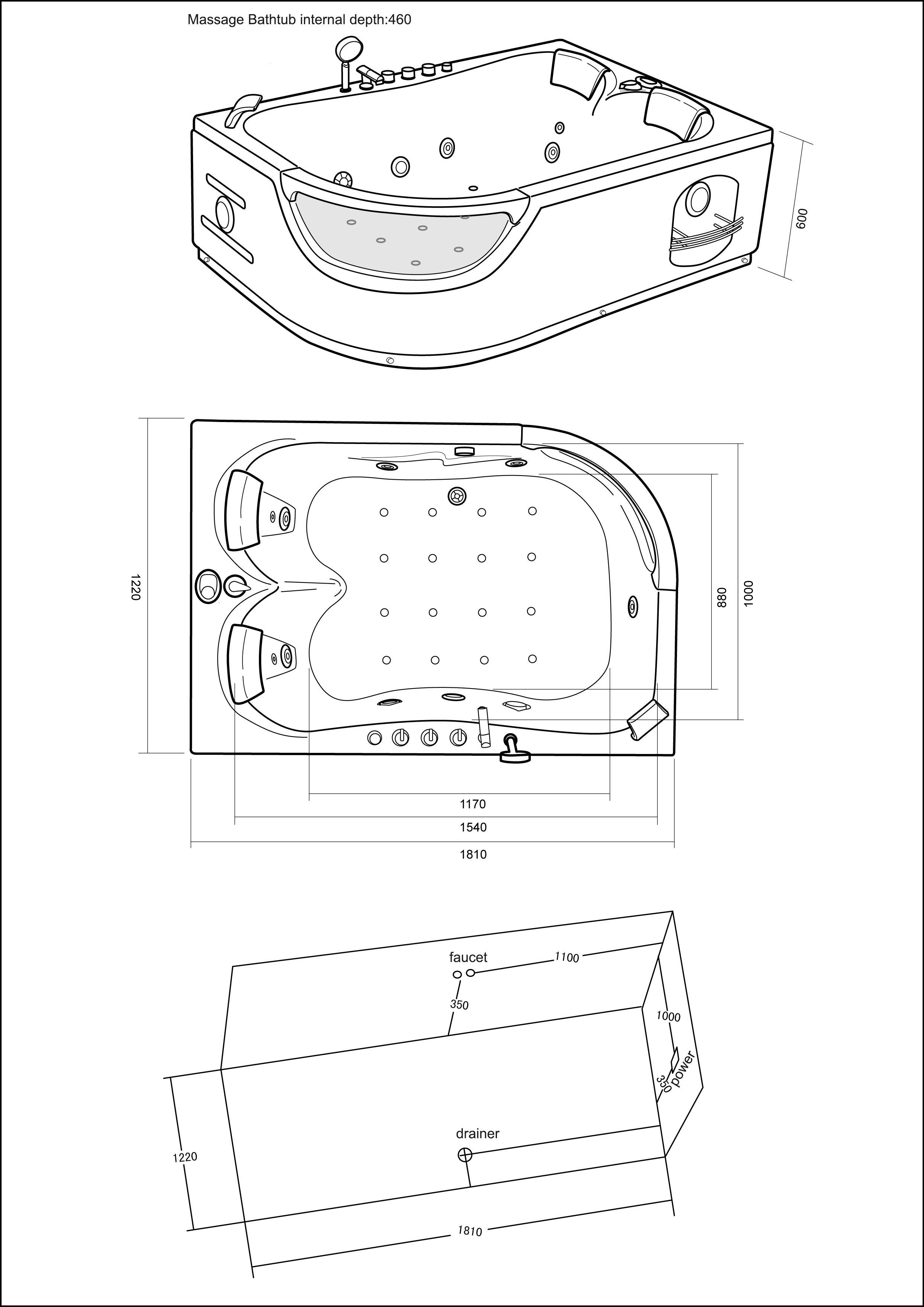 whirlpool corner bath jacuzzi spa 180 x 120 cm hot tub bathtub mod elite