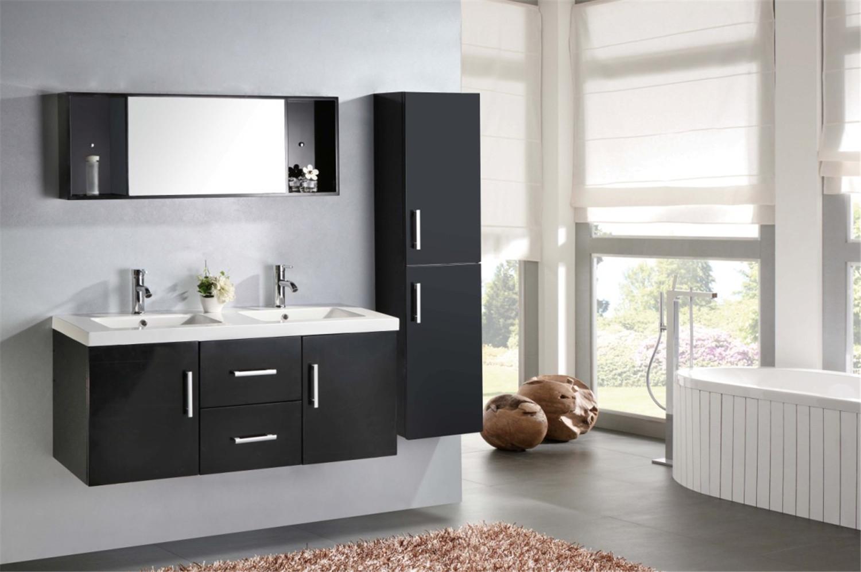 Mobile bagno arredo bagno 120 cm doppio lavabo rubinetti inclusi malib nero ebay - Bagno con doppio lavello ...