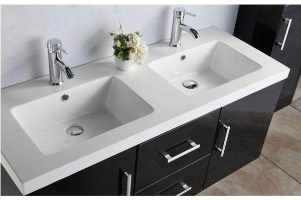 Mobile bagno arredo bagno 120 cm doppio lavabo rubinetti for Mobili neri