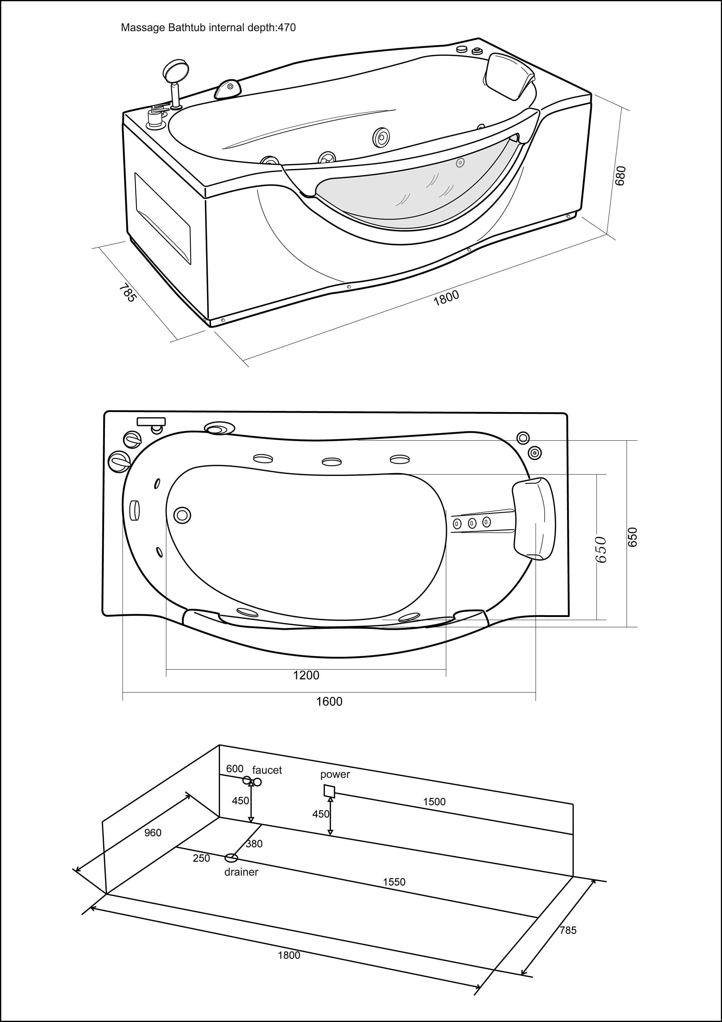 whirlpool corner bath spa 180 x 96 cm double pillow bathtub mod  jungle 8058340720449
