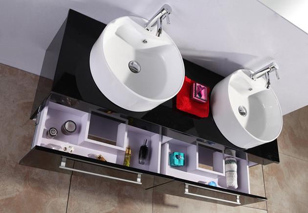 Mobile bagno arredo bagno completo 150 cm doppio lavabo rubinetti ...